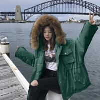 女中长款韩版宽松大毛领棉衣工装学生加厚棉袄外套冬