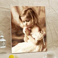 数字油画diy 大幅客厅人物手绘填色油彩涂色装饰画40x50 40x50精选优质亚麻画布 加厚内框+亚麻画布+高