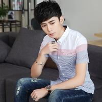 2018潮流短袖衬衫男 韩版修身条纹衬衣 定位撞色条纹棉寸衬