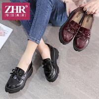 ZHR2018新款内增高女鞋粗跟高跟鞋英伦风休闲鞋乐福单鞋小皮鞋J35