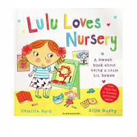 【全店300减100】英文原版 Lulu Loves Nursery 露露爱上学 消除分离焦虑 故事图画书绘本 我爱露露