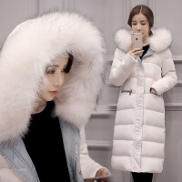 2017韩版新款潮秋冬装时尚女式貉子毛大毛领黑白色羽绒服女长款