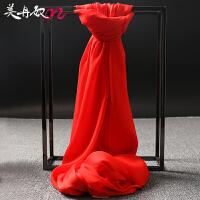 企业中国红围巾大红色丝巾女春秋季百搭长款纱巾方巾可印