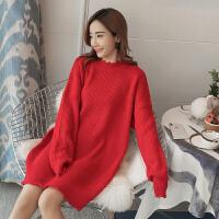 中长款针织打底衫冬孕妇秋装连衣裙时尚款宽松韩版孕妇红色毛衣女