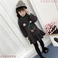 童装女童加绒连衣裙冬装新款2-8岁儿童圣诞树加厚公主裙子 潮