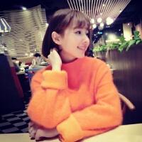 毛衣女士秋冬半高领宽松加厚中长小清新貂绒套头外套 桔红色