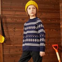 【2件4折:76】巴拉巴拉旗下巴帝巴帝毛衫2019年秋冬男童中大童儿童森系条纹套头毛衣
