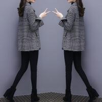 欧洲站2018秋冬新款女装千鸟格子短款呢子大衣宽松大码毛呢外套女 千鸟格