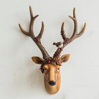 壁饰挂件墙饰创意工艺品美式乡村情侣鹿头壁挂家居客厅墙上装饰品
