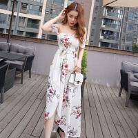 泰国潮牌2018春夏季时尚沙滩风度假新款露肩短袖波西米亚长裙