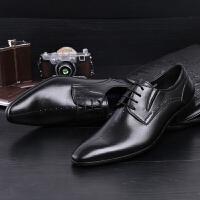 DAZED CONFUSEDU 头层牛皮英伦尖头男士皮鞋 商务正装透气德比鞋西装皮鞋