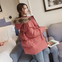羽绒女中长款冬装新款韩版连帽面包服棉袄小个子棉衣外套厚潮