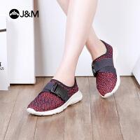 【低价秒杀】jm快乐玛丽春季休闲平底运动套脚舒适网面鞋低帮鞋女鞋子
