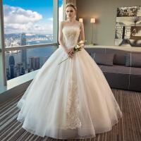 婚纱礼服2018新款冬季欧美宫廷抹胸韩式修身显瘦齐地森系抹胸婚纱 白色