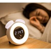 智能触摸感应闹钟小夜灯多功能可充电卧室睡眠婴儿喂奶台灯带时间