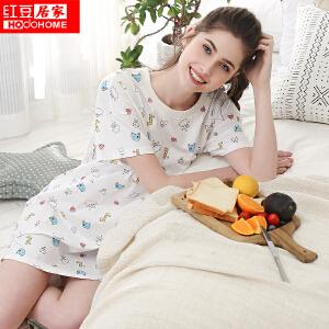 红豆居家女士睡衣春夏纯棉螺纹圆领卡通印花短袖裙042