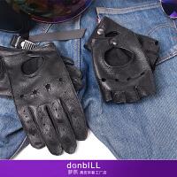 骑行半指手套男机车哈雷 手套薄款夏复古开赛车运动摩托车手套 鹿皮黑色全指 现货