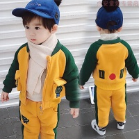宝宝冬装男0一1岁2婴儿衣服潮款男童加绒套装3儿童帅气秋冬季洋气 图片色