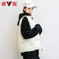 yaloo/雅鹿羽绒服女2019新款冬短款马甲背心纯色韩版修身坎肩外套