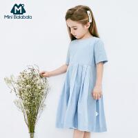 【限时1件6折 2件5折】迷你巴拉巴拉女童连衣裙2019夏季新款条纹A版学院风儿童宝宝裙子