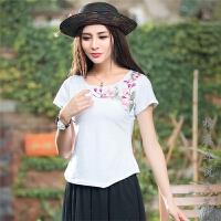 中国风女装夏装新款 民族风上衣绣花短袖棉复古不规则修身T恤 女