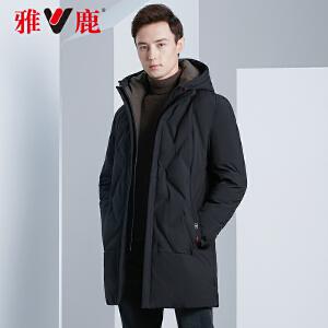 雅鹿反季羽绒服男冬季中长款2019新款加厚韩版中年羽绒外套男士D