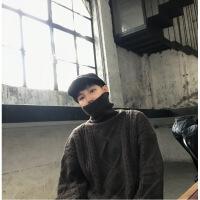 高品质 羊毛衫 冬季韩版宽松休闲加厚套头菱格麻花高领毛衣男女