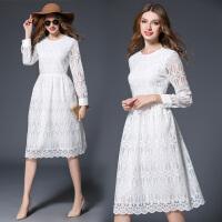 夏季新品欧美纯色修身显瘦长袖白色蕾丝连衣裙女中长款裙子