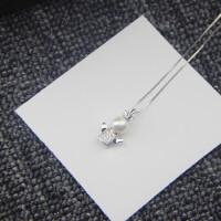 天使珍珠吊坠S925纯银项链小天使水晶女生短款锁骨生日礼物 S925专柜精品天使项链