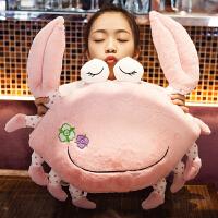 大闸蟹螃蟹睡觉抱枕公仔午睡枕头毛绒玩具女生长抱枕可爱萌女