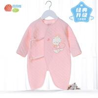 贝贝怡新生婴儿连体衣冬季加厚保暖初生宝宝睡衣外出抱衣哈衣爬服