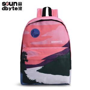 【支持礼品卡支付】soundbyte学生书包印花女背包红色山水休闲包