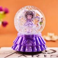 创意八音盒地中海帆船灯塔树脂水晶球装饰礼品桌面摆件全场 紫色 大号女孩水晶球