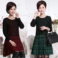 秋冬季中老年套头毛衣女装宽松连衣裙中长款针织打底衫中年妈妈装