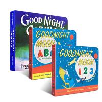儿童英文原版绘本Goodnight Moon ABC 123晚安月亮3本启蒙纸板书廖彩杏推荐书单儿童英语经典启蒙绘本宝