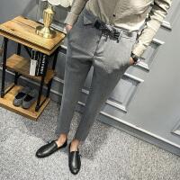 新款秋季长裤休闲裤男士韩版青年修身个性腰扣小脚秋装发型师潮流