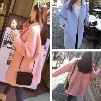 慈姑2017秋冬女装新款修身呢子大衣韩版西装领中长款纯色毛呢外套女潮 粉红色