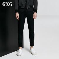 GXG休闲裤男装 秋季男士时尚青年潮流气质都市修身藏青白条长裤男