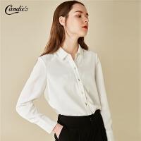 拉夏贝尔白色衬衫女秋冬季新款基础百搭上衣长袖打底职业宽松港风衬衣