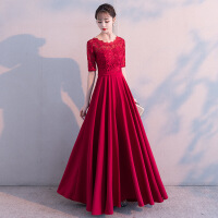 新娘敬酒服2018新款孕妇显瘦优雅长款结婚晚礼服女圆领回门服冬季