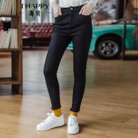 海贝2017年冬装新款女装 高腰修身显瘦流苏小脚裤黑色牛仔裤长裤