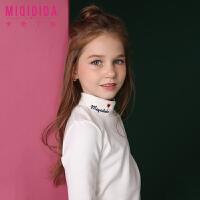 米奇丁当童装女童上衣新品冬装休闲纯色小高领打底衫