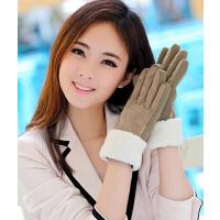女冬可爱加厚猪皮骑车保暖手套女士 冬季手套双层女士真皮手套