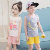 儿童背心套装 男童女童薄款圆领无袖打底衫休闲新款时尚韩版中小童背心短裤两件套