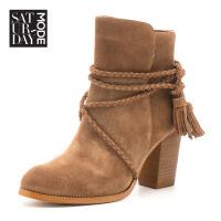 SATURDAYMODE 专柜同款反绒皮粗跟圆头粗跟短靴 MD64116203