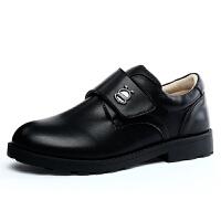 巴布豆童鞋 男童皮鞋2017春秋新款男童鞋中大童表演鞋学生黑色皮鞋