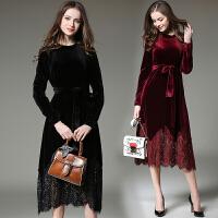 秋冬新款欧美气质高腰丝绒蕾丝拼接天鹅绒连衣裙女长裙