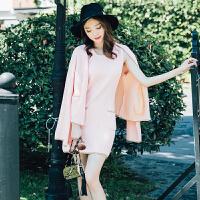 粉色毛线裙套装女春小个子中长款加厚针织衫显瘦毛衣背心裙两件套 粉色
