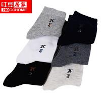 红豆6双装袜子男袜商务休闲简约纯色精梳棉四季中筒袜H7W209 6色6双 均码
