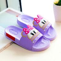 儿童拖鞋男女童夏季宝宝可爱卡通一家三口子软底防滑洗澡凉拖鞋 紫色